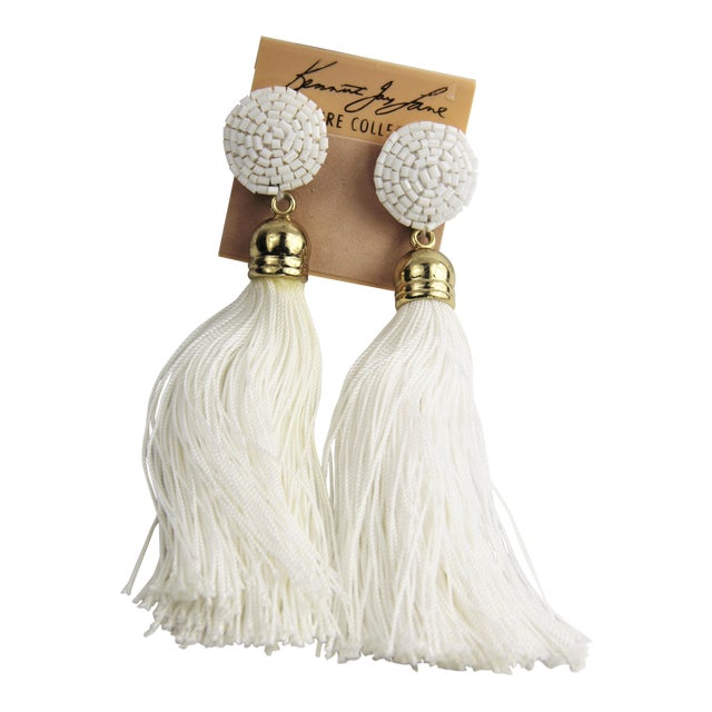 Kjl Kenneth Jay Lane Couture Collection Shoulder Duster Tassel Earrings For Sale