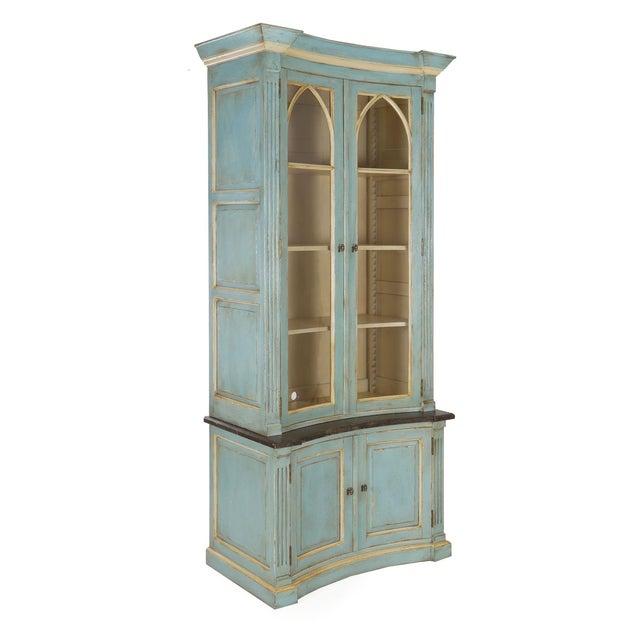 SWEDISH-STYLE BLUE PAINTED TWO-PART BOOKCASE CABINET Circa 21st century, retailed by Lillian August Item # 008MGP26M This...