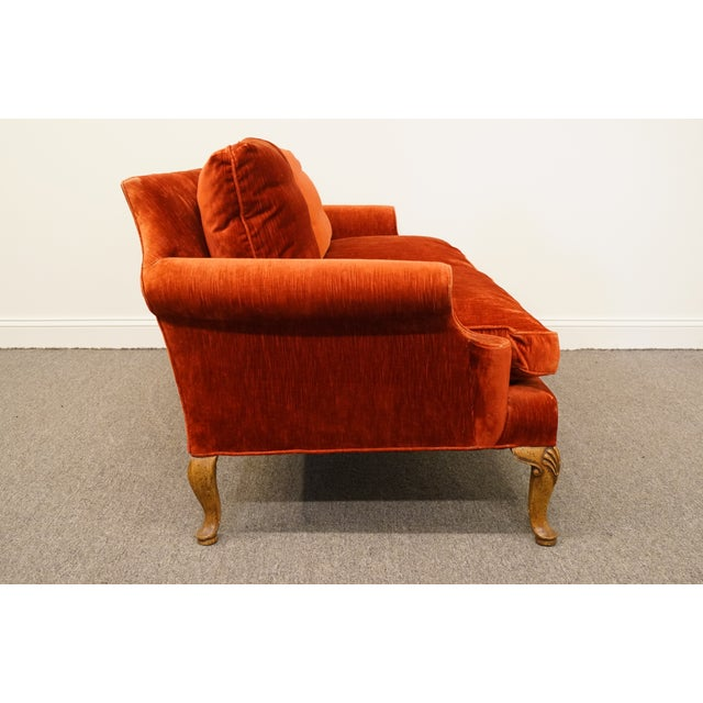 Henredon Furniture Rust Red Upholstered Loveseat / Sofa For Sale - Image 9 of 10