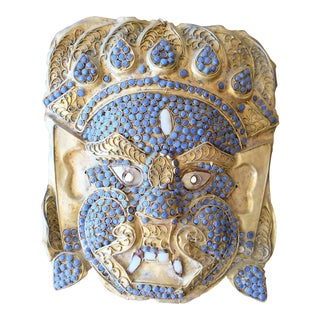 Indian Tribal Mask With Blue Stones For Sale
