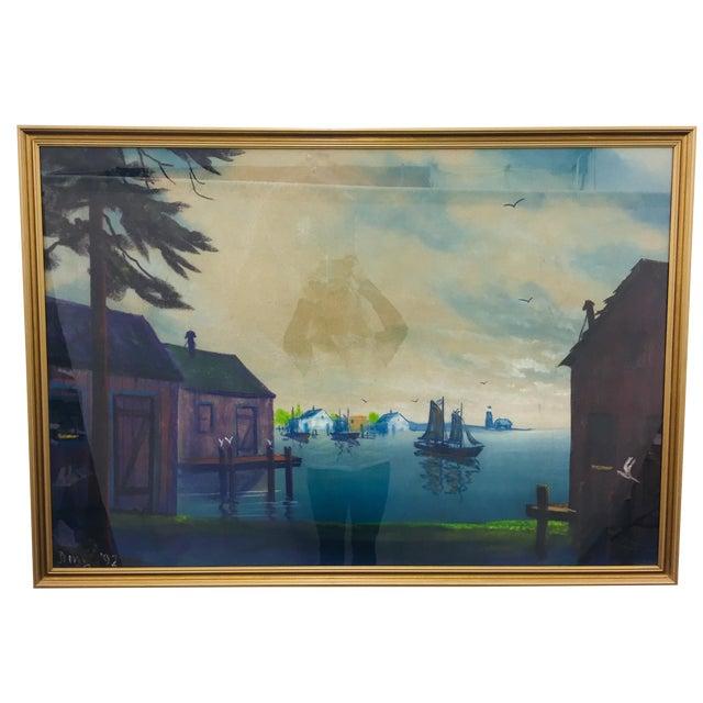 Original Framed Coastal Seascape Painting For Sale