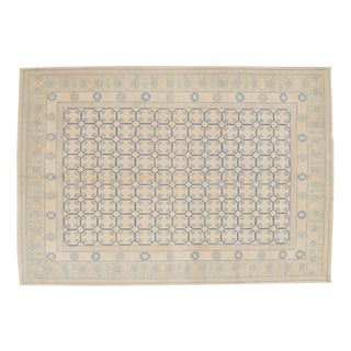 "Vintage Blue & Beige Afghan Rug- 10'2""x13' For Sale"