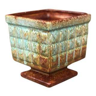 Vintage Haeger Pottery Drip Glaze Square Planter For Sale