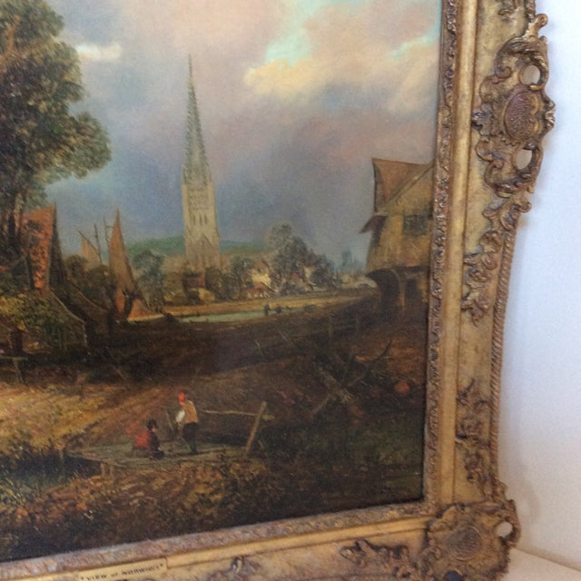 Antique 19th Century Landscape Church Steeple Oil Painting For Sale - Image 4 of 12