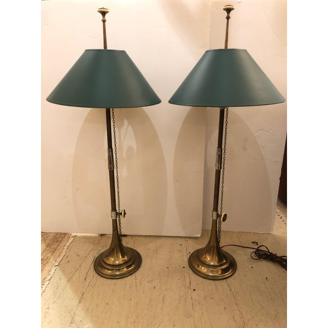Green 1980s Vintage Horn Motife Brass Table Lamps by Chapman- a Pair For Sale - Image 8 of 8