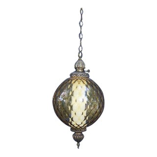 Mid-Century Amber Glass Hanging Swag Light