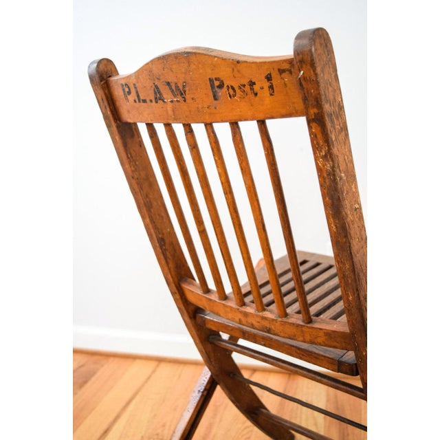 Antique Wood Folding Theater or Deck Chair For Sale - Image 5 of 6