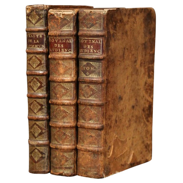 17th Century French Leather Bound Decorative Books Dated 1692-1700 - Set of 3 For Sale