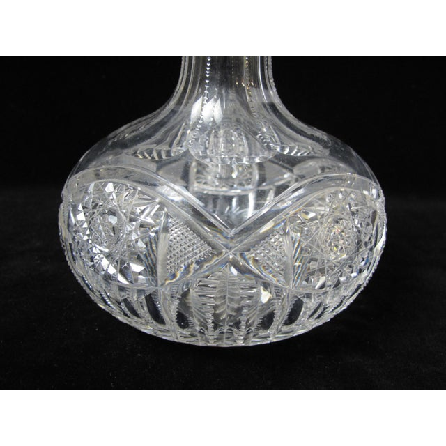 American Classical Antique American Brilliant Period Cut Crystal Carafe Decanter For Sale - Image 3 of 4
