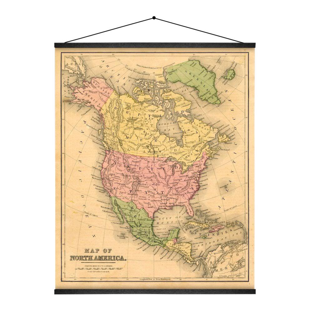 1867 North American Map Wall Hanging | Chairish