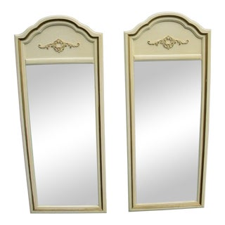 French Pair of Painted Wall Bedroom Bathroom Vanity Mirrors by Lenoir For Sale