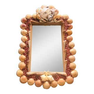 Artist Made Custom Shell Framed Mirror For Sale