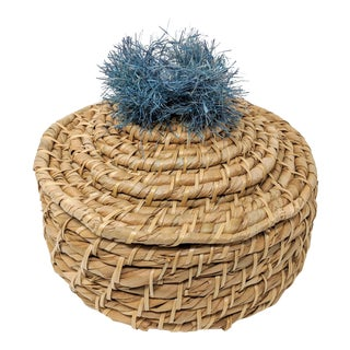 Covered Basket With Raffia Pom-Pom Accent - Navy Blue For Sale