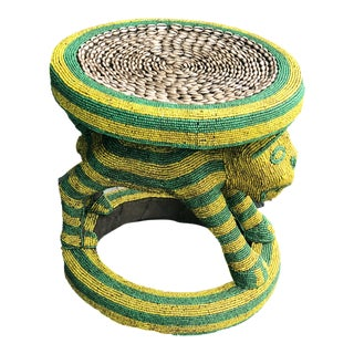 "Lg African Beaded Wood Bamileke Stool /Table Cameroon 18.5"" H For Sale"