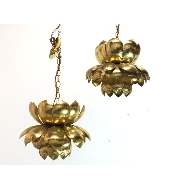 Pair of large brass lotus pendants. Pendants are in good vintage condition with visible oxidation of brass. Original...