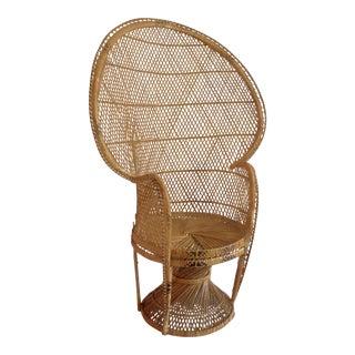1970s Emmanuelle Rattan Wicker Peacock Chair