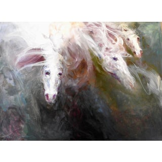 """Abstract Oil Painting in Deep, Vivid Earth Tones, """"Iii Horses Diving Into Matter"""" For Sale"""
