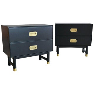 1960s Black Lacquer and Brass Campaign Nightstands - a Pair