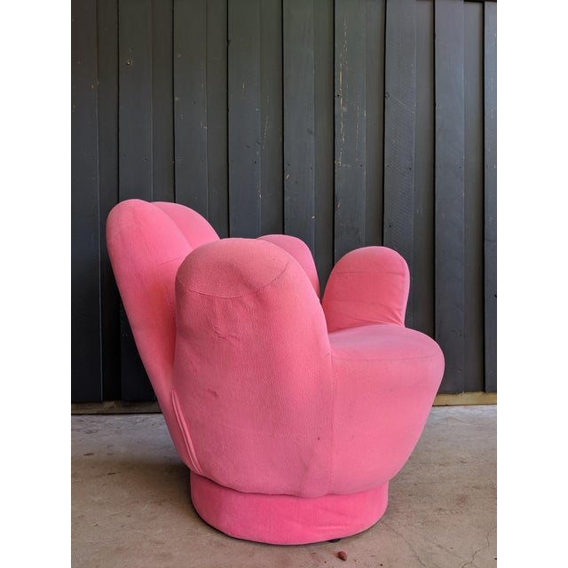 Pink Boho Chic Pink Hand Shaped Swivel Lounge Chair For Sale - Image 8 of 11