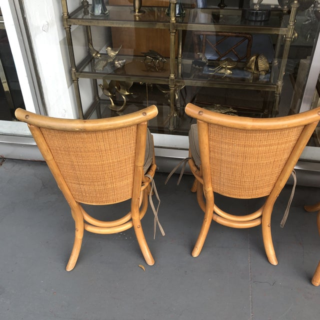 Tan 1970s Vintage Pagoda Style Rattan Dining Chairs- Set of 4 For Sale - Image 8 of 12