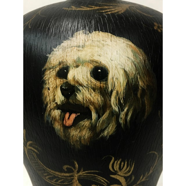 Portraiture Hand Painted Dog Portraiture Lamp For Sale - Image 3 of 5