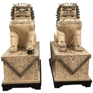 Early 20th Century Chinese Oversized Fu Dog Statues- A Pair For Sale