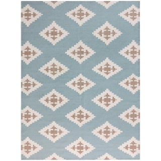 Zara Southwestern Blue Flat-Weave Rug 8'x10' For Sale