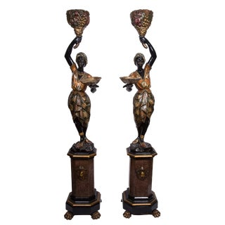 Pair of Venetian Polychrome Decorated and Ebonized Blackamoor Figures For Sale