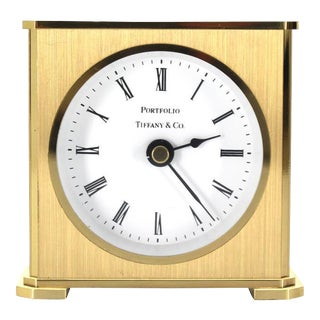Vintage Brass Case Tiffany Desk Clock For Sale