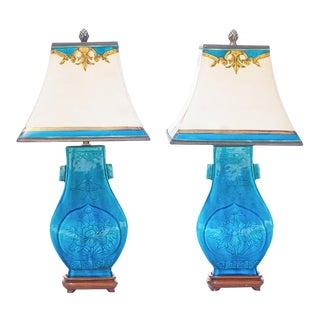 1900's Turquoise Chinese Ceramic Lamps - a Pair For Sale