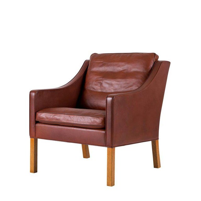 Contemporary Børge Mogensen Model #2207 Leather Lounge Chair For Sale - Image 3 of 10