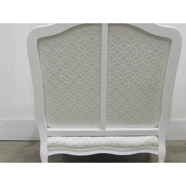 French Bergère Armchairs in White Lacquer and Designers Guild Jacaranda - a Pair For Sale - Image 5 of 11