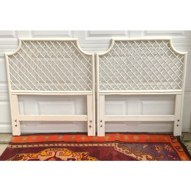 Wood Vintage White Bamboo Rattan Latticed Pagoda Twin Headboards - a Pair For Sale - Image 7 of 7