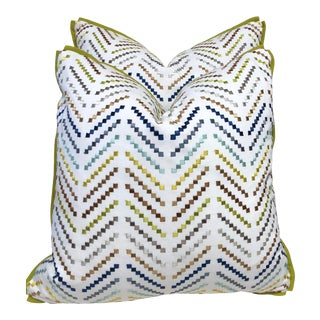 Boho Chic Fabric Pillow With Flat Flange Detail - a Pair For Sale