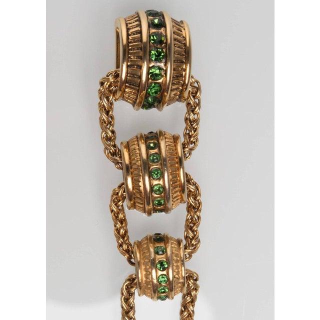 Yves Saint Laurent 1980s Claire Dévé Gold Green Crystal Shoulder Duster Earrings For Sale - Image 4 of 7