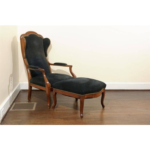 Antique Italian Wing Chair and Ottoman - Image 2 of 8