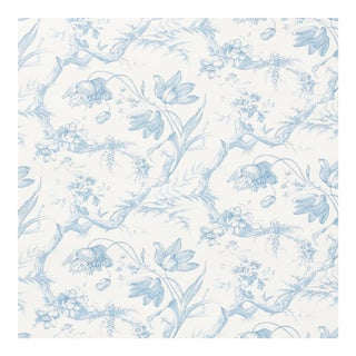 Sample - Schumacher Toile De Fleurs Wallpaper in Delft For Sale