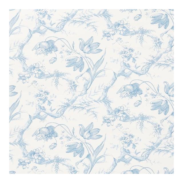 Sample - Schumacher Toile De Fleurs Wallpaper in Delft For Sale