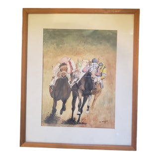 Mid 20th Century Horse Racing Figurative Watercolor Painting, Framed For Sale