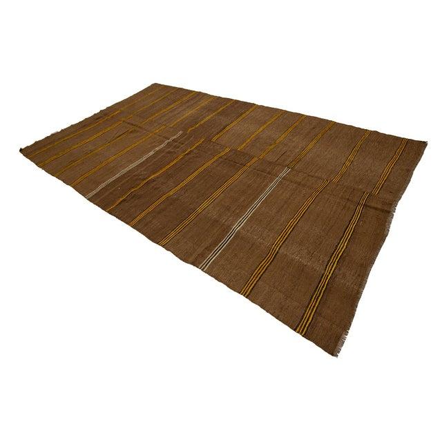 1960s Vintage Striped Brown Kilim Rug- 6′2″ × 10′7″ For Sale - Image 4 of 7
