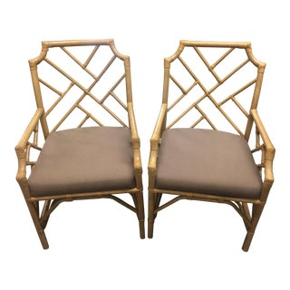 Pair of Kenian Import Rattan Arm Chairs For Sale
