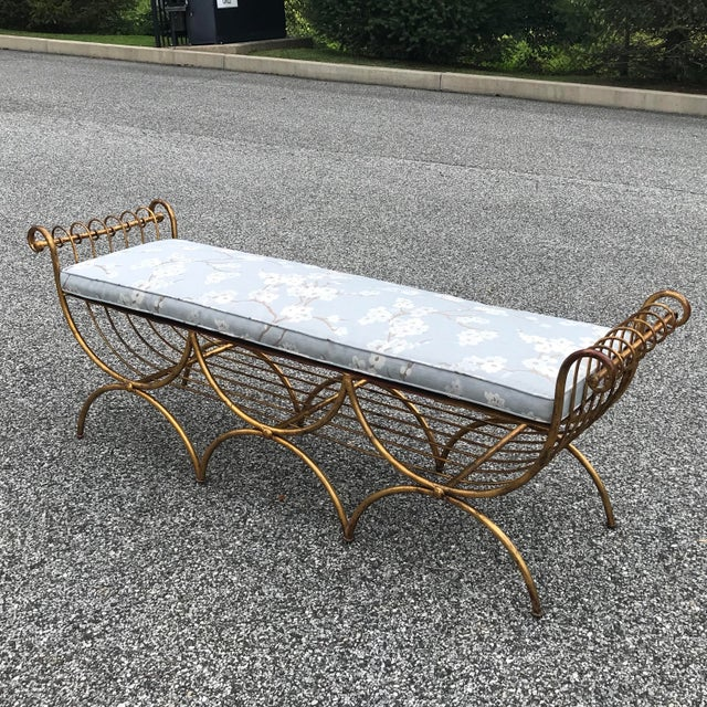Amazing hand welded gilt finished metal bench with brand new custom upholstered cushion!