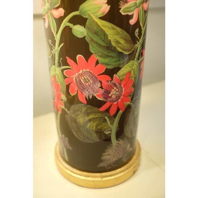Metal Decoupage Flower Lamp With Green Painted Shade For Sale - Image 7 of 12