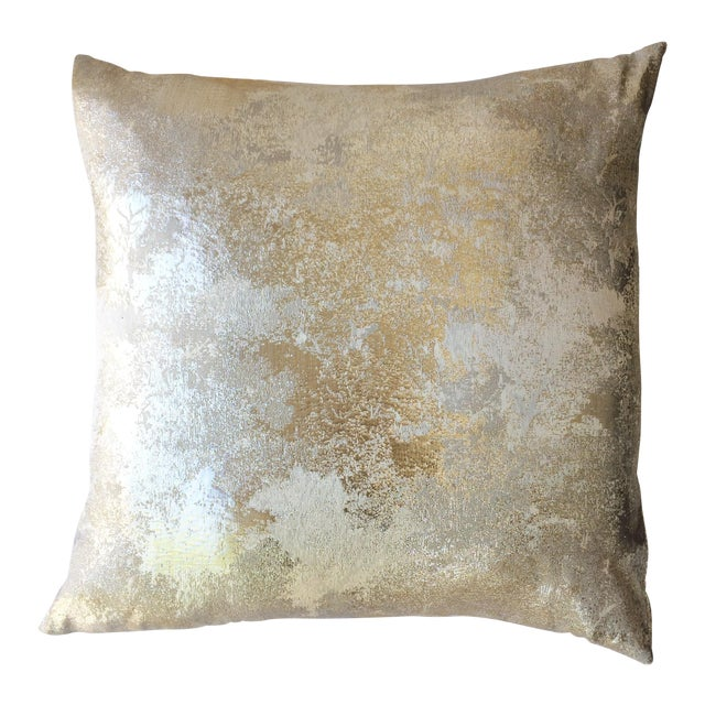 Square Feathers Gold Metallic Pillow - Image 1 of 3