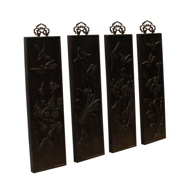 Asian Chinese Set of 4 Birds & Flowers Wood Decor Wall Panels For Sale - Image 3 of 8