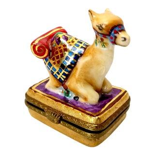 Late 20th Century Limoges Gilt Camel Trinket Box For Sale