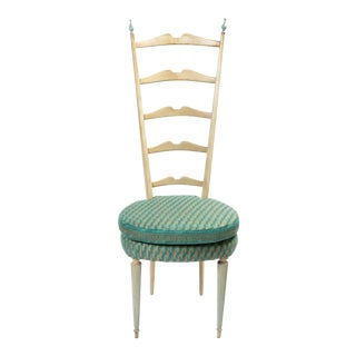 High Back Paolo Buffa Style Chiavari Chairs in Fortuny Fabric For Sale