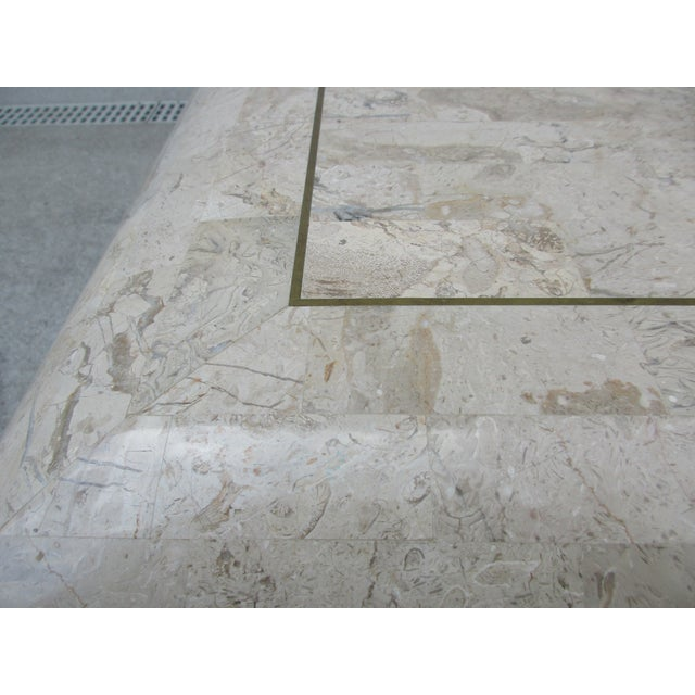 Metal Tessellated Stone Coffee Table for Mission Furniture Los Angeles For Sale - Image 7 of 11
