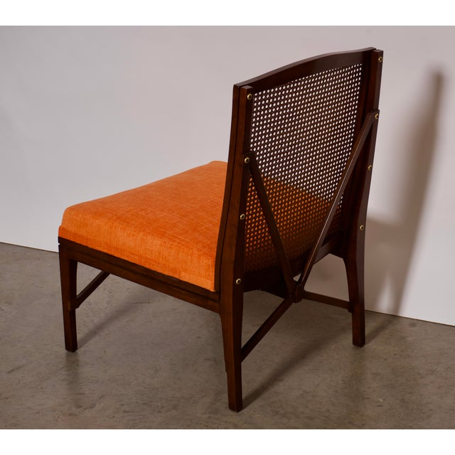 """1940s Antique """"American of Chicago"""" Mid-Century Modern Walnut & Cane Accent Chair With Side Table For Sale In Miami - Image 6 of 13"""