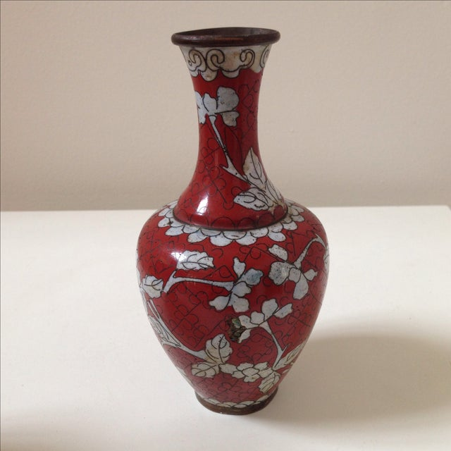Red Cloisonne Vases - Pair - Image 5 of 11